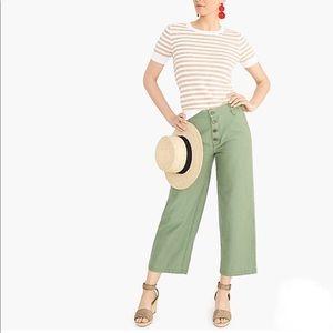 J.Crew Wide-Leg Button-Front Pant in Slub Cotton